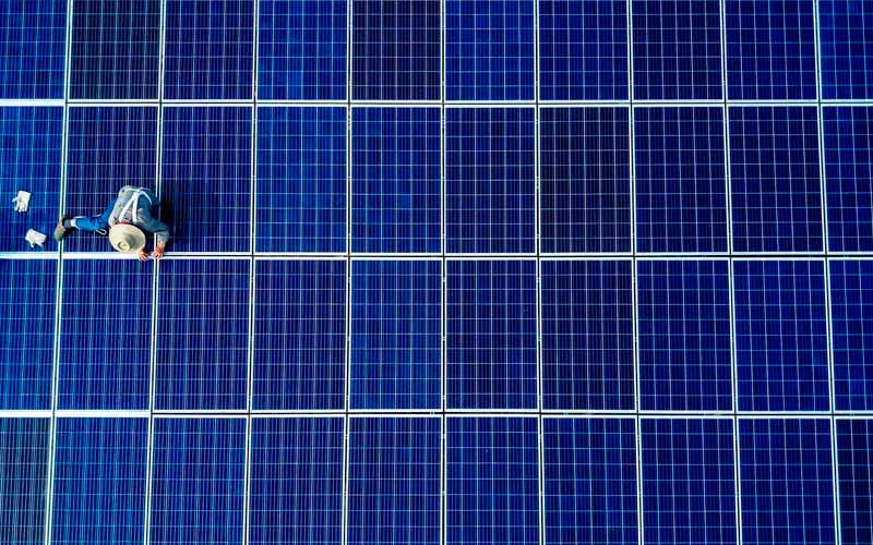 paneles solares desde el aire